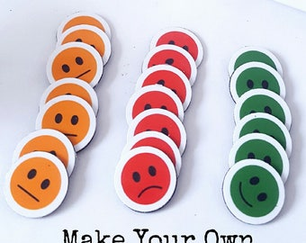 Kids Reward Chart Download, Token, Happy Face, Neutral Face, Sad Face, Traffic light faces, Download and Print, Circles Behaviour Chart