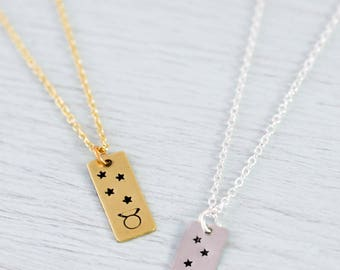 Taurus star sign necklace - Taurus zodiac symbol with stars bar necklace - Gold or silver Taurus zodiac necklace - Taurus necklace