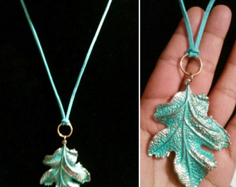 Hand Painted Brass Leaf Necklace