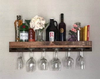 "30"" FLOATING (low back) Rustic Wood Wine Rack 