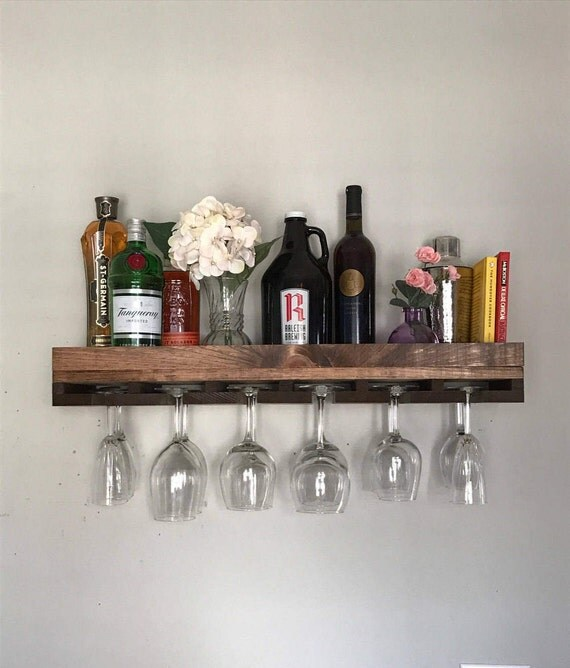30 floating low back rustic wood wine rack shelf. Black Bedroom Furniture Sets. Home Design Ideas