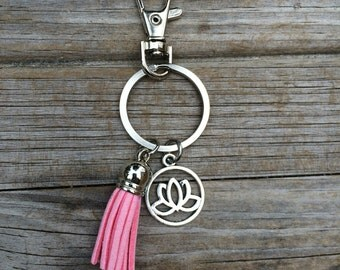 Lotus Tassel Keychain, flower keychain, keychain, purse keychain, gifts for her