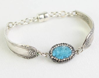 Druzy Bracelet, Silverware Jewelry, Wedding Jewelry, Mother of the Bride, Team Bride, Valentines Day Gift for Her, Mother's Day Gift, Easter