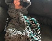 Hooded Owl Blanket, Adult Hooded Owl Blanket, Child Owl Blanket, Crochet Hooded Blanket