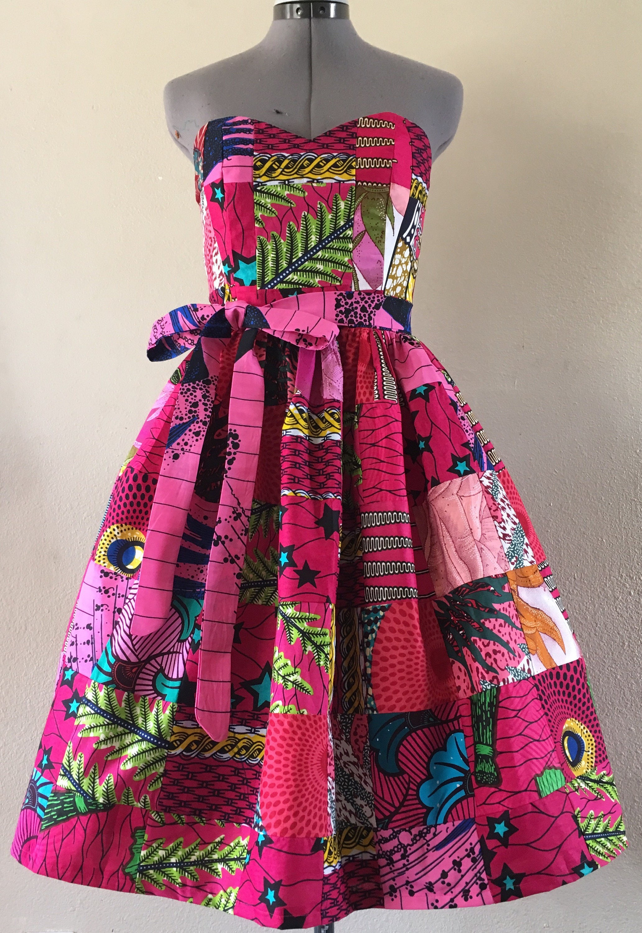 Pink Party Dress African Print Patchwork Sweetheart Dress With