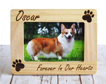 Pet Memorial Frame - Personalized Pet Memorial Frame - Forever In Our Hearts- Engraved Picture Frame- Pet Picture Frame