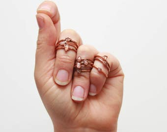 Rough Stacking Ring // Rose Quartz Stacking Ring // Raw Rose Quartz // Boho Ring // Raw Crystal // Gemstone Jewelry
