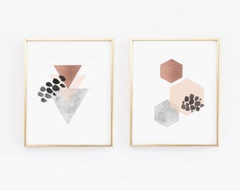 Copper Wall Art- Scandinavian Prints - Geometric Prints - Modern Prints - Hexagon print, Scandi, Nordic, Marble, Blush Pink, (1400-2)
