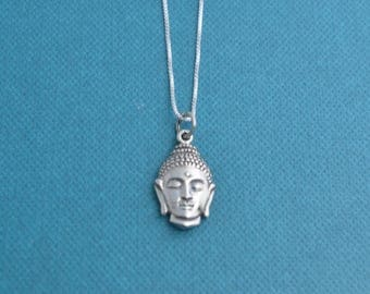 Buddha necklace in sterling silver.  Buddha necklace.  Buddha charm. Buddha jewelry.  Sterling silver necklace.  Sterling.
