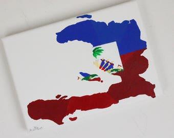 Haiti Painting, Haitian Painting, Original Painting, Haiti, Haitian Flag, Haiti Map, Haitian Art, Map Of The World, Travel Art, Travel Gift