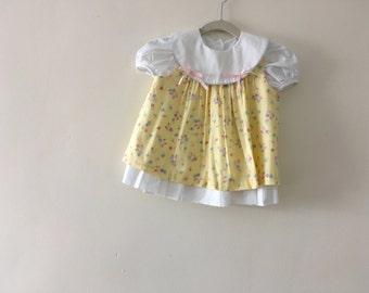 Vintage Floral Layered Dress - size 3-6m