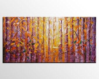 Landscape Art, Birch Tree Painting, Abstract Art, Abstract Painting, Original Oil Painting, Canvas Art, Impasto Art, Wall Art, Large Art