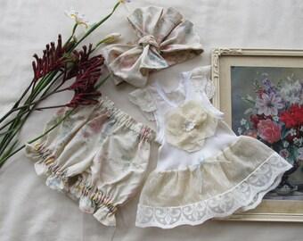 Baby Girl Eco 3 PIECE SINGLET SET Vintage Newborn Singlet Top Bloomers Headwrap Photo Shoot Gift