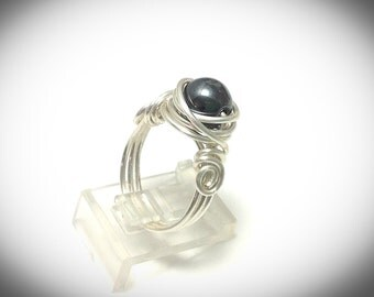 Silver wire ring. Wire wrapped ring, silver wire ring with hematite focal