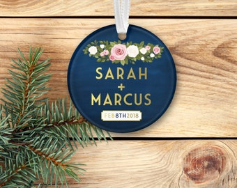 FRANKIE Holiday Ornament . Newlyweds first Christmas Wedding Gift . Custom Navy & Gold Chalkboard White Blush Roses . 3 inch Acrylic Circle