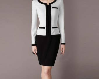 Made to Size Black And White Patchwork Yarn Dress Business Casual Clothing Office Attire Custom Made Chiefcolors CH92