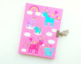 Cute unicorn diary / notebook (including lock and keys)