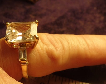 Sterling Silver Vermeil Ring size 7 CZ stones- nicely made - marked Sterling
