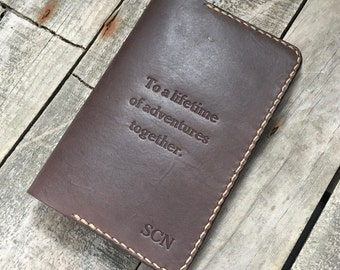 Personalised Leather Passport Cover, Notebook Holder, Journal Case, Travel Wallet, Full Grain Leather, The Banksia