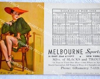 Gil Elvgren Pinup Girl Advertising ink Blotter Calendar Card - 1948