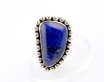 Navajo Lapis Lazuli Ring // Sterling Silver Southwest Ring // C07 (UU)