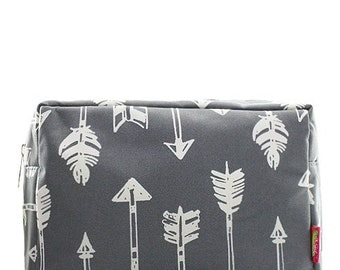 Monogrammed Make Up Bag Cosmetic Case Toiletry Bag Arrow Print Gray and White