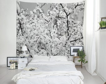 Cherry Blossom Tapestry, Large Wall Art, Black And White, Floral Tapestries
