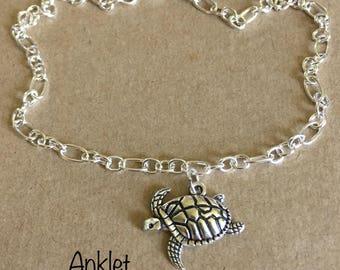 Turtle Anklet, Sea Turtle Anklet, Sea Charm Anklet