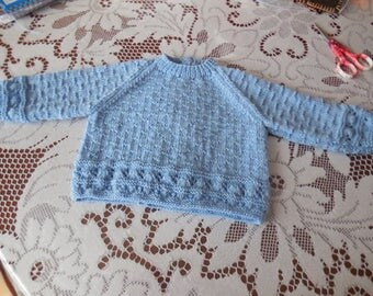 JOLIE BRASSIERE knitted newborn to 3 months hand - quality wool 100% pure wool