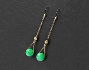 Jade 14 K gold filled earrings, jade earrings, jade bead jewelry, gold ball earrings, green earrings, Chinese earring, jade gemstone jewelry