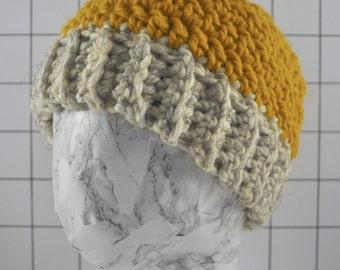Chunky Bun Hat - yellow and white