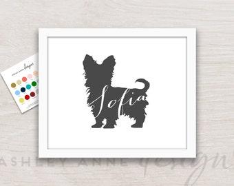 Teacup Yorkie Art Print, Yorkie Gift, Yorkie Picture, Yorkie Silhouette, Yorkie Portrait, Dog Artwork, Dog Decor, Dog Gift, Teacup Dog
