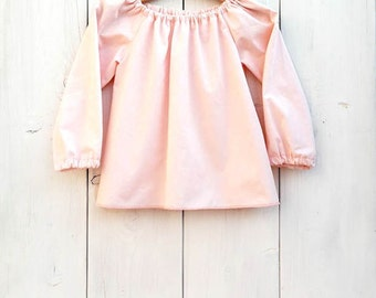 Baby pink cotton blouse, baby cotton shirt, toddler ruffled blouse, girls blouse, curled top, vintage baby style, casual baby blouse