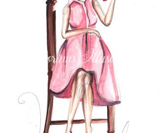 Fashion illustration, Bookworm art, Book lover art, Book lover print, Bookworm print, Fashion sketch, Bookworm wall art, Fashion wall art