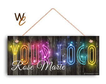 "ON SALE Sparkly Company Sign, Place Your Logo on Sign, Personalized 6""x14"" Sign, Promote Business or Boutique, We Will Add Sparkles, Made To"