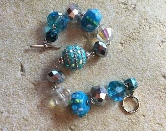 Blue Glitzy Statement Bracelet, Beaded Bracelet, Beaded Jewelry, Lampwork Bracelet, Womens Jewelry