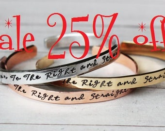 Sale 25% off - Second Star to the Right and straight on 'til morning  Peter Pan Cuff Bracelet ..... Hand Stamped Bracelet | Tinkerbell