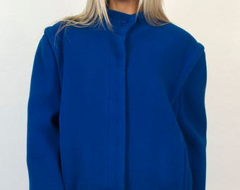 Vintage 80s Blue Fleece Jacket - Collarless High Mock Neck Structured Pleated Warm Winter Long Sleeve Button Down