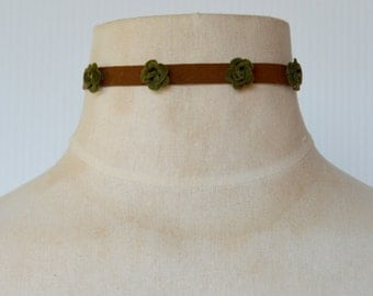 Brown Suede Choker with Rosette Flowers