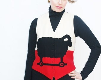 Vintage 80s Moschino Cheap and Chic Black Sheep Wool Waistcoat Vest