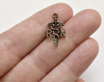 30  RN Charms - Registered Nurse Charm Pendants - Antique Bronze - Medical Caduceus - #B0053