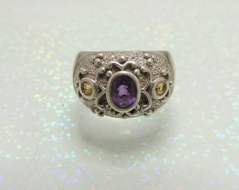 Vintage Sterling Silver Citrine Amethyst Ring