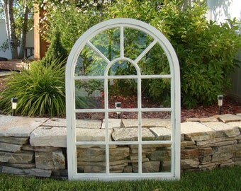 "37"" Tall Arched Sunburst Window Mirror"