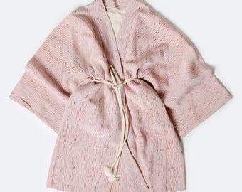 Antique Pale Pink Hand-Stitched Full Shibori Batik 100% Silk Kimono Jacket / Japanese Haori