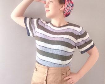 Nautical stripes ladies 1940s 1950s cotton sweater summer top beach top knit tshirt