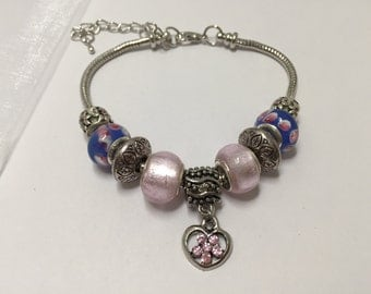 Bracelet charm's, pink and blue, with Heart Rhinestone ref 827