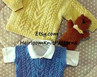 Aran Style Sweater and Slipover DK Knitting Pattern 16-28'' Baby Child's Boys Girls Knitting Pattern Instant Download PDF - 781