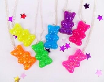 Gummy Bears Necklace Pendant Gummi Charm Candy Glitter Resin Kawaii Kitsch Gumball Cute Sweet Lolita Cosplay Quirky