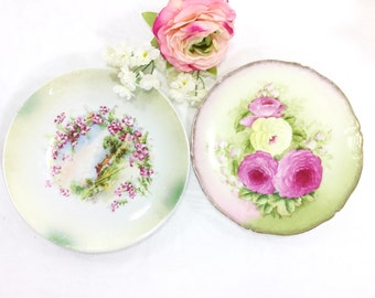 Set of 2 Gilt Pink Rose Bavarian Porcelain Plates, Display Plate, Wall Decor, Dinnerware, Shabby Chic #A646