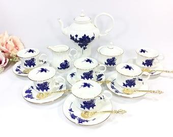Gorgeous 21 Piece Romanian Complete Tea Set Teapot, Cup, Saucer, Spoon For Tea Party Wedding Shower Tea Time, Ceroc #A982